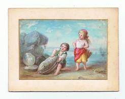 AQUARELLE Sur Cartoline Fin XIX éme_enfants A La Mer Et Le Coquillage - Prints & Engravings