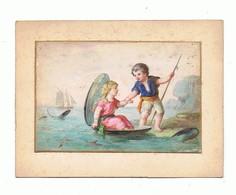 AQUARELLE Sur Cartoline Fin XIX éme_enfants A La Mer - Prints & Engravings