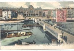 151. LE HAVRE . LA BOURSE . JOLI AFFR SUR RECTO . CARTE COLORISEE - Le Havre