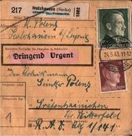! 1943 Paketkarte Deutsches Reich, Holzhausen Bei Leipzig N. Gräfenhainichen, Sachsen, R.A.D. Lager, Reichsarbeitsdienst - Briefe U. Dokumente