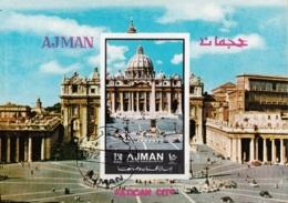Ajman 1972 Mi. Vatican City Città Vaticano Piazza San Pietro Sistina Sheet CTO Imperf. - Ajman