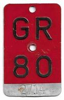 Velonummer Graubünden GR 80 - Plaques D'immatriculation