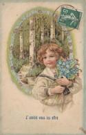 CPA Gaufrée Enfant Garçonnet Fleur Bouquet De Myosotis Amitié Embossed Fantaisie Illustrateur (2 Scans) - Autres