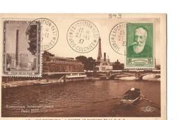 """CPA Expo Paris 1937 Timbre YT 643 Et Vignette """"Tour De La Paix"""" - Cachets Expo 1937 Oaris - Colonies 21 11 1937 - Tentoonstellingen"""