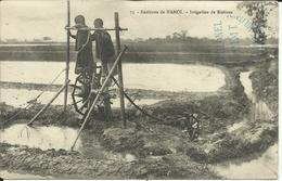 * Environs De Hanoï , Irrigation De Rizières , CPA ANIMEE , 1916 + Cachet Militaire - Vietnam