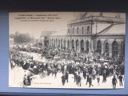 """FLOING-SEDAN (1 Sept 1870-1910) Inauguration Du Monument Des """"Braves Gens"""";arrivée Des Autorités à La Gare De Sedan - Sedan"""
