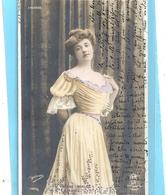 """"""" YVONNE MIALEC  """"  TRES JOLIE CARTE AFFR AU VERSO LE 12 JUIN 1905 . 2 SCANES - Femmes Célèbres"""