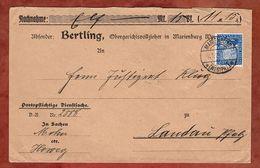 Nachnahme, Portopflichtige Dienstsache, Rheinland, Marienburg Nach Landau 1926 (89460) - Deutschland