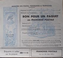 R1615/1745 - FRANCHISE MILITAIRE POUR COLIS - BON VIERGE - N°14 (légère Pliure) - Colis Postaux