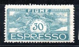 Fiume / N 1 / 30 C Bleu / NEUF* - 8. Occupazione 1a Guerra