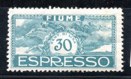 Fiume / N 1 / 30 C Bleu / NEUF* - 8. WW I Occupation