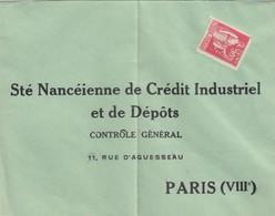 LETTRE.  NON AFFRANCHIE. PAIX 50c PERFORÉ SOCIETE NANCEIENNE DE CREDIT INDUSTRIEL - 1944-45 Arco Di Trionfo