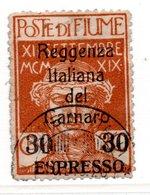 Fiume  /  Espresso / N 3 / 30 Sur 20 C Brun /  Oblitéré / Côte 100 € - 8. Occupazione 1a Guerra