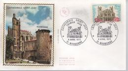FDC - Enveloppe 1er Jour - CATHÉDRALE SAINT JUST - 8 AVRIL 1972 - NARBONNE - 1970-1979