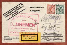 Drucksache, Flugpost, Katapultflug Dampfer Bremen, SoSt Seepost New York, Nach Billstedt 1929 (89465) - Deutschland