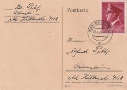 Deutsches Reich / 1942 / Mi. 813 EF Auf Postkarte Stegstempel Idar-Oberstein (4521) - Allemagne
