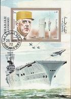 Sharjah 1972 Bf. 96B De Gaulle Sheet Imperf. CTO Portaerei - Seconda Guerra Mondiale
