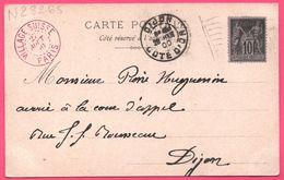 Oblit. Rouge VILLAGE SUISSE + DIJON 1900 Sur Cp La Scierie Au Village Suisse Paris - Edit. S.I.P. - Type Sage - Marcofilie (Brieven)