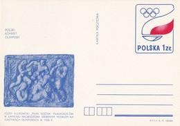 "Poland 1977 Stationery; Football Fussball; Lozef Klukowski Sculpture;  ""Piłkarze"" (""Football"") Olympic Art Contest 1936 - Stamps"