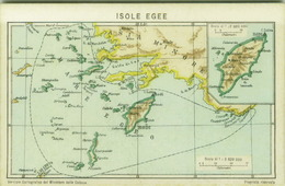 GREECE - ISOLE EGEE /  AEGEAN ISLANDS - RODI / RODHES -  LINDO / LINDOS - MAP POSTCARD  - YEAR 1929 (7058) - Greece