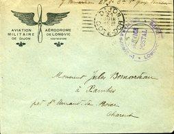 DIJON 21 Juin 18 1e Groupe D'aviation Longic Service Postal Franchise Hélice Avion Aile - Storia Postale