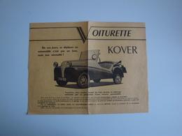 """Plaquette Publicitaire Pour La Voiturette """"KOVER"""" 1CV-2 Places,produite à Livry (France) - Automobile"""
