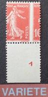 R1189/497 - 1907 - TYPE SEMEUSE CAMEE - N°138 (IA) NEUF (*) BdF - SUPERBE VARIETE ➤➤➤ Piquage à Cheval - Variétés Et Curiosités