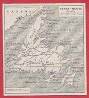 Carte De L'île De Terre-neuve. Chemin De Fer. Larousse 1931. - Documents Historiques