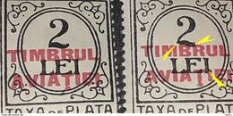 Errors Romania 1931 Tax Stamp Surcharge Aviation Stamp With Error On The Figure ² Bent The Tail - Variedades Y Curiosidades