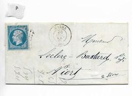 Lettre Napoléon 20 C, Matha Vers Niort 1859 - 1849-1876: Période Classique