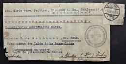 Etiquette COLIS CROIX-ROUGE GLAUCHAU > PRISONNIER DE GUERRE Allemand NANTES DETACHEMENT ILES DE LA LOIRE - Marcophilie (Lettres)