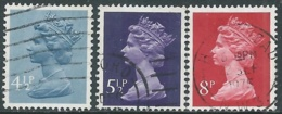 1973 GRAN BRETAGNA USATO EFFIGIE REGINA ELISABETTA II 3 VALORI - RC2-6 - 1952-.... (Elisabetta II)