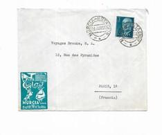 1955 Espagne  Murcia Hotel Victoria - Marcophilie - EMA (Empreintes Machines)