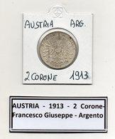 Austria - 1913 - 2 Corone - Francesco Giuseppe - Argento - (MW444) - Austria