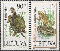 """LITHUANIA - COMPLETE SET """"THE RED BOOK OF DANGEROUS ANIMALS AND PLANT SPECIES"""": TURTLE AND FROG 1993 - MNH - Reptiles & Batraciens"""