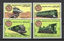 IRAQ 1975  TRAINS,LOCOMOTIVES,RAILWAY CONFERENCE  SET MNH - Iraq