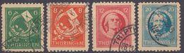 THURINGEN - TURINGIA - 1945 - Lotto Di Quattro Valori Usati: Yvert 4/7, Come Da Immagine. - Zona Sovietica