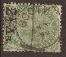 INDIA. QV. POSTMARK GOOTY. USED - India (...-1947)