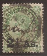 INDIA. QV. WELSELEY STREET CALCUTTA POSTMARK. 2½a OVERPRINT USED. - India (...-1947)