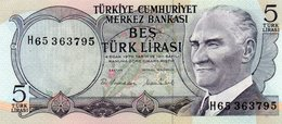TURKEY=1970    5  LIRA     P-185    UNC - Turquia