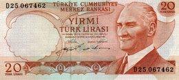 TURKEY=1970    20  LIRA     P-187    UNC - Turchia