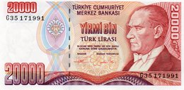 TURKEY=1970    20.000  LIRA     P-202    UNC - Turkey