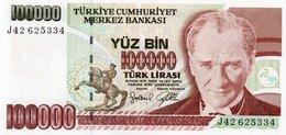 TURKEY=1970    100.000  LIRA     P-205    UNC - Turquia