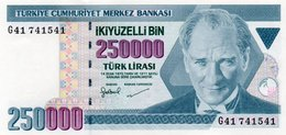 TURKEY=1970    250.000  LIRA     P-207    UNC - Turquia