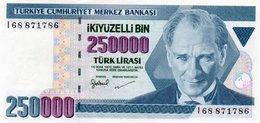 TURKEY=1970    250.000  LIRA     P-211    UNC - Turquia