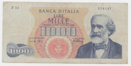 Italy 1000 Lire 1965 Fine Banknote Verdi Pick 96c 96 C - [ 2] 1946-… : République