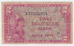 GERMANY FEDERAL REPUBLIC 2 MARK 1948 VG Pick 3 - 2 Deutsche Mark