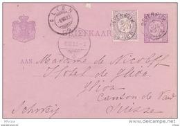 L4U068  Pays Bas Briefkaart Berverwijk Pour Glion  Suisse 06 07 1893 - Entiers Postaux