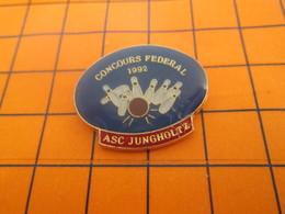 2419 Pin's Pins / Beau Et Rare / Thème SPORTS / BOWLING CONCOURS FEFERAL 1992 ASC JUNGHOLTZ - Bowling
