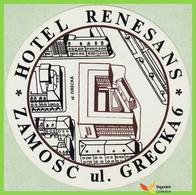Voyo HOTEL RENESANS Zamosc Poland. Hotel Label  Sticker 1990s Vintage - Etiquettes D'hotels